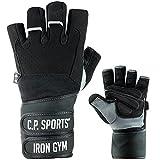 C.P.Sports Profi-Gym-Doppelbandagen-Handschuh, Fitnesshandschuh, Trainingshandschuh L