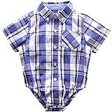 Bebone Monos Bodies Camiseta Manga Corta para Bebé Niño Niña Algodón (6-9M, azul oscuro)