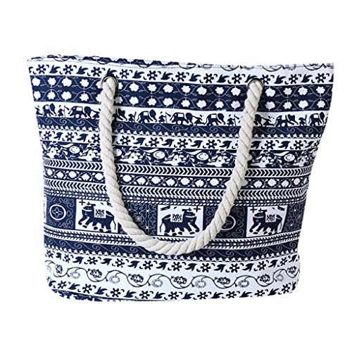 QUICKLYLY Bolsa Mano de Mujer de Playa Lona Grande Bolso de Shopper con Cremallera de Hombro,Elefante Impresión Capacidad(Negro)