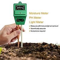 MoonCity 3-in-1suelo medidor de humedad, PH acidez y luz probador, planta suelo Tester Kit, ideal para el jardín, granja, césped, interior y exterior (no necesita batería)