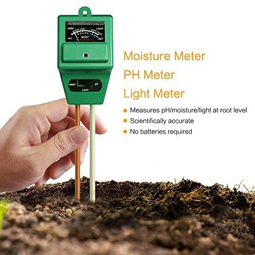 Galleria fotografica Mooncity - Misuratore diumidità del suolo 3-in-1, acidità del PH e luce, per il terreno, ideale per giardino, fattoria, prato, interno e esterno (non richiede batteria)