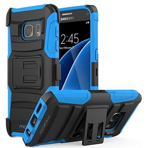 HTC One A9 Hülle - MoKo [Heavy Duty Serie] Outdoor Dual Layer Armor Case Handy Schutzhülle Schale Bumper mit Gürtelclip und Standfunktion für HTC One A9 5.0 Zoll Android 6.0 2015 Smartphone, Blau