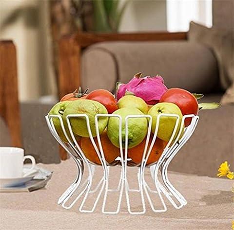 Obstteller, Fruchtschale, Art und Weise kreativer Obstkorb, Wohnzimmer Metall, Küchenregale, KTV Obstteller, rundes Becken, Korb, getrocknete Obstteller , white