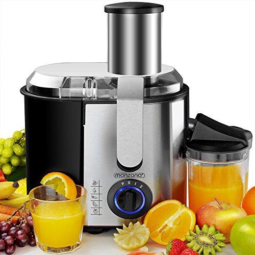 Monzana® Entsafter für Obst und Gemüse aus Edelstahl Motorleistung max. 1100W große 85 mm Einfüllöffnung inkl. Reinigungsbürste und Saftbehälter 3 Geschwindigkeitsstufen (Motorleistung)