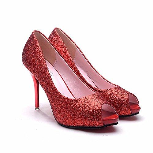 profonda europea partito temperamento scarpe alto tacco gules personalità di e poco sexy FLYRCX scarpe Signore estate sottile Moda aSYw5S