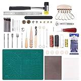Malayas®44 Stück Leder Werkzeug Set Leder Handwerk Rad Stempel Knopf Locher Meißel Nähen Schnitzen Lochen Stantzen Werkzeuge DIY Lederarbeit Werkzeugsatz
