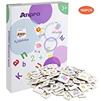 Anpro Magnetic Learning Letters and Numbers for Kids over 3 years old, Magnetic Alphabet Best Educational Toys for Preschool Education, Counting, Spelling