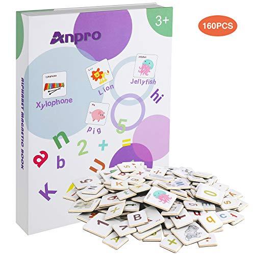 Anpro 160 Magnetische Buchstaben und Zahlen Buch Set, Magnete Lernset Magnetbuchstaben Set Geschenk für Kinder zählen, perfekte Vorschulerziehung