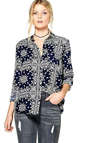 Femmes Marine Codie Printed Viscose Shirt Marine