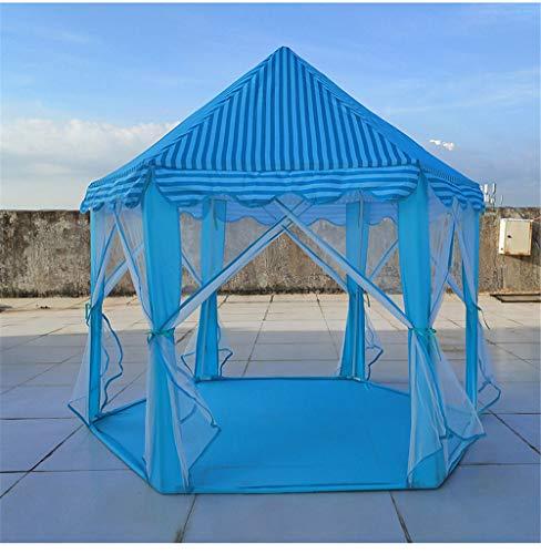 ZXCVBW Outdoor Zelt für Kinder Spiel Tragbare Faltbare Prinzessin Schloss Zelt Kinder Spielhaus Zelt Kinder Geschenke für 0-14 Jahre Baby, Blau (Blau-schlafzimmer-hängematten)