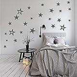 83 Stück Aufkleber Sterne Set XXL als Wandtattoo/Fensteraufkleber Dekoration (Grau)