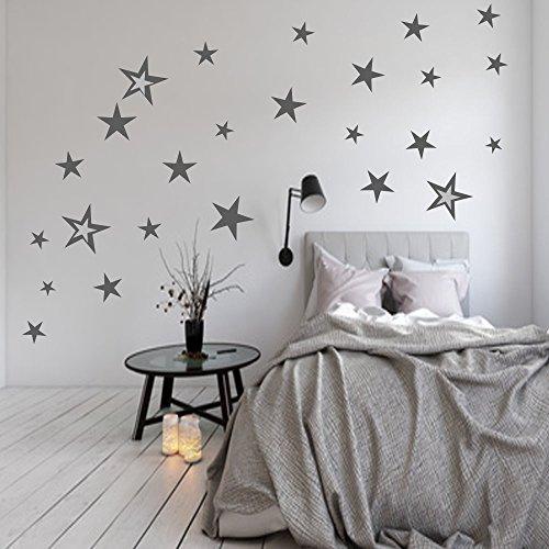83 Stück Aufkleber Sterne Set XXL als Wandtattoo/Fensteraufkleber Dekoration (Grau) (Sterne 83)