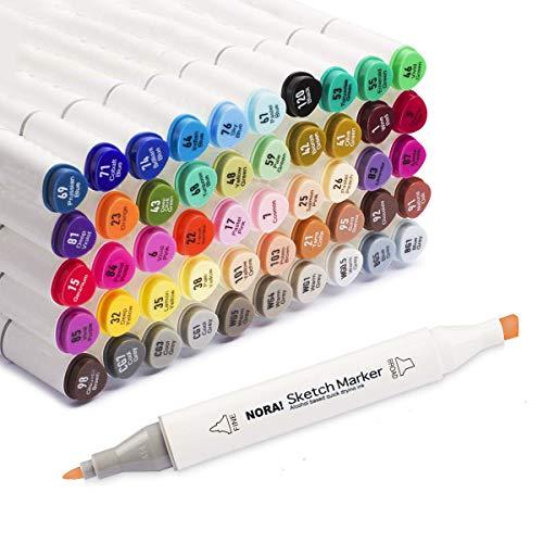 ZHENDUO 60 Colori Pennarelli a Due Punte Set pennarelli per pennarelli permanenti per pennarelli da colorare Pittura Disegno Sottolineatura Schizzi Pennarelli a Base alcolica con Custodia (24)