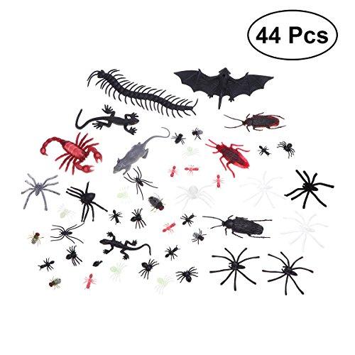 BESTOYARD 44 Stücke Kunststoff Bugs Realistische Gefälschte Spinnen Skorpion Fliegen Fledermaus Spuk Schädlingsbekämpfung Spielzeug Creepy Streich Spielzeug für Halloween Party Aprilscherz Decor