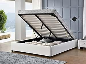 Fournier Décoration CC6016B Podium Lit Coffre/Tête de Lit Faux Cuir Blanc 160 x 200 cm