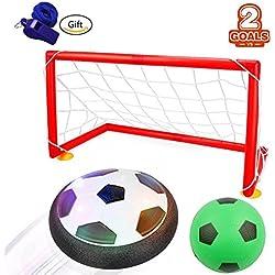 Air Power Soccer,WoBoSen Hover Glide Base LED Ball Toys Electrical Boys Niños Fútbol Juego para interior y exterior (Air Soccer + Balones de Fútbol Inflables + 2 Soccer Goal + Whistle) (Fútbo Juguetes)