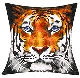Vervaco Kreuzstichkissen Tiger Kreuzstichpackung, Stramin, Weiß, 40 x 40 x 0,30 cm