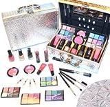 Schöne Kosmetik Make-up ALU Koffer mit Reliefmuster Schminkkoffer 42 tlg gefüllt(e941)