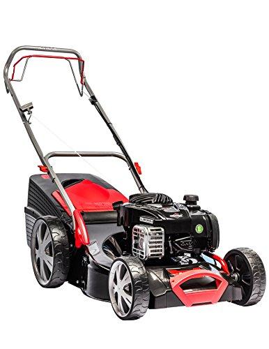 AL-KO Benzin-Rasenmäher Classic 4.65 SP-B Plus, 46 cm Schnittbreite, 2.0 kW Motorleistung, für Rasenflächen bis 1.400 m², Schnitthöhe 7-fach verstellbar, inkl. Mulchkeil, mit Radantrieb, inkl. 65 l Fangkorb mit Füllstandsanzeige