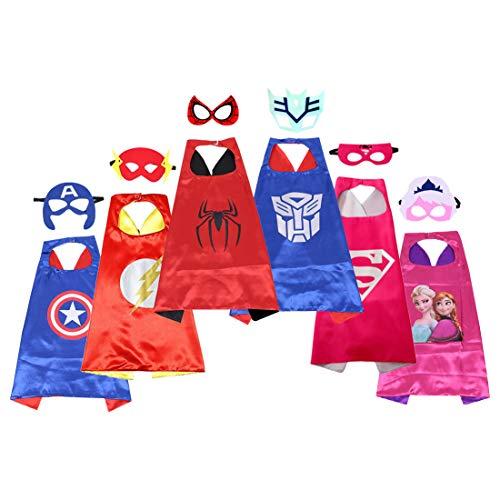 Superhelden-Umhang und Masken für Kinder, Kostüme, Cosplay-Umhang Set, doppelseitig, ()
