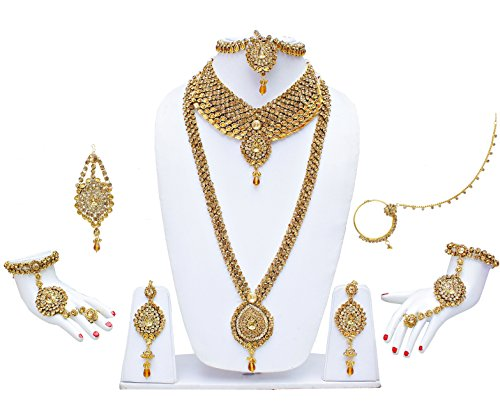 Lucky Jewellery Lct Kundan Bridal Necklace Set 9 Pcs For Women