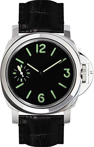 PARNIS 9073 klassische Handaufzugsuhr 44mm mechanische Herren-Armband-Uhr Edelstahl Lederarmband SeaGull ST36 Markenuhrwerk