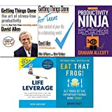 Getting things done for teens, how to be a productivity ninja, life leverage and eat that frog 5 books collection set