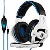 SADES SA 810 de 3,5 mm de sonido envolvente estéreo PC Gaming Headset la venda de los auriculares con micrófono para / Laptop de control de volumen Over-the-Ear PC (blanco)