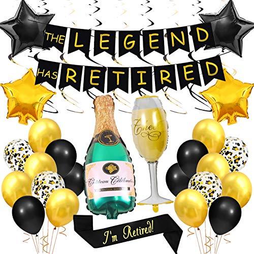 Fangleland Retirement Party Dekorationen The Legend Has Retired Banner Ich Bin im Ruhestand Schärpe Schwarz und Gold Luftballons hängende Strudel für Männer Frauen Retirement Party Supplies (Party Dekorationen Für Retirement)