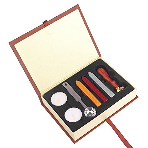 ONEVER Retro sigillo di cera Francobolli Kit | distintivo scuola di magia | Cera Stick Spoon | Gift Box Set