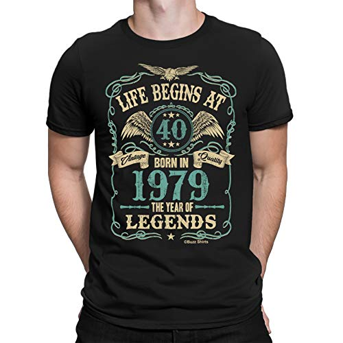 Buzz Shirts Hombre 40th Regalo De Cumpleaños - Life Begins at 40 Hombre T-Shirt - Born in 1979 by (Large, Black)