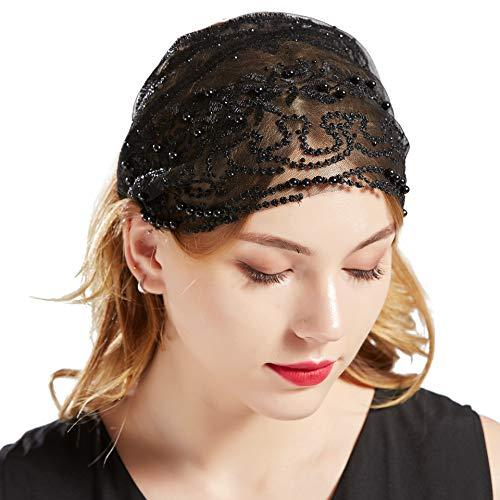 Kostüm Exotische - Coucoland Gaze Kopftuch Damen Elastisch Turban Hut 1920s Haarband Damen Exotisch Fasching Kostüm Accessoires (Schwarz)