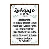TypeStoff Holzschild mit Spruch – Zuhause – Schild, Bild im Vintage-Look mit Zitat ALS Geschenk und Dekoration zum Thema Familie, Liebe und Geborgenheit – Sprüche Schilder