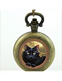 Cat reloj de bolsillo collar, gato cuarzo reloj de bolsillo Lovely Black cat joyas, para amante regalo