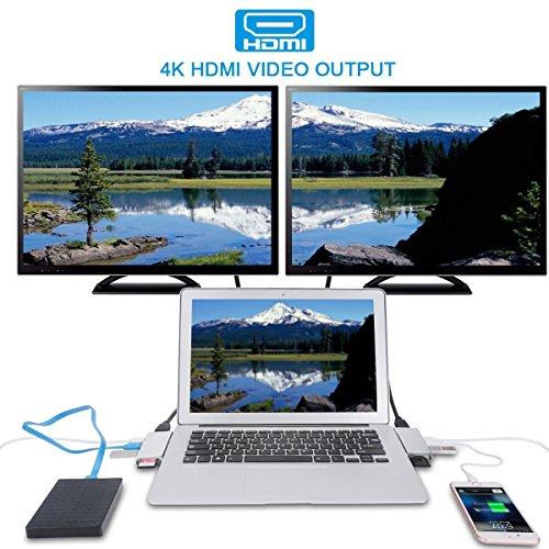 """USB C Hub, KIMKOO® USB C Adapter mit Typ C Ladeanschluss, 4K HDMI Port, SD-Kartenleser, Micro SD-Kartenleser, 2 USB 3.0 Ports für Typ C Geräte wie MacBook, 13"""" und 15""""MacBook Pro 2016/2017 (Silber)"""