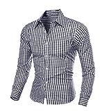 UJUNAOR Herren Herbst Winter Langarm Plaid Selbst Anbau Shirt Top Bluse(M,Schwarz)