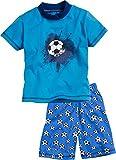 Playshoes Jungen Zweiteiliger Schlafanzug Shorty Single-Jersey Fußball, Blau (original 900), Herstellergröße: 110