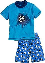 Playshoes Jungen Shorty Single-Jersey Fußball Zweiteiliger Schlafanzug, Blau (Original 900), 104