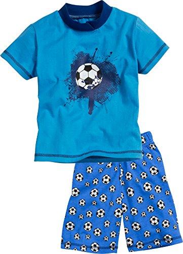 Playshoes Jungen Shorty Single-Jersey Fußball Zweiteiliger Schlafanzug, Blau (Original 900), 116