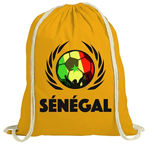World Cup Wappen Soccer Fussball WM Fanfest Gruppen Fan natur Turnbeutel Gym Bag Fußball Senegal gelb natur