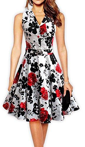 PhilaeEC Damen 1950s 60s Stil Geschnürt Blumen Retro Glänzend Kleid Kleid Rock (Rot, M)
