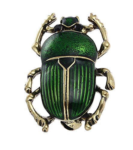 Handgearbeitete, schimmernde Käfer   Skarabäus Brosche (Green)