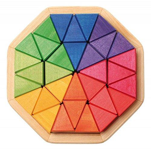 Grimm's Medium Octagon Form Building Set - Wooden Mosaic Block Puzzle, 32 Triangles by Grimm's Spiel & Holz