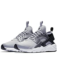 Nike Girls' Air Huarache Run Ultra (GS) Shoe Black/Wolf-Grey-Metallic silver 6.5