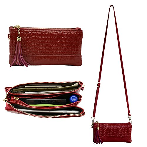Befen Soft Leather Wristlet Phone Wristlet Wallet Clutch Smartphone Cross Body Wallet with Exquisite Tassels/ Card slots/Shoulder strap/Wrist Strap-for Phone Up to 6 x 3.1*0.3 Inch –Jester Red