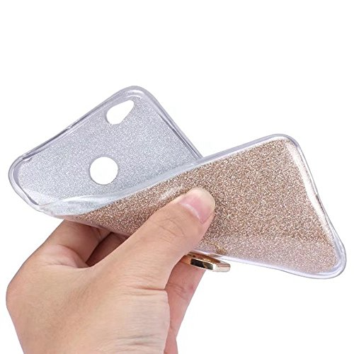 Soft Flexible TPU Back Cover Case Shockproof Schutzhülle mit Bling Glitter Sparkles und Kickstand für Xiaomi Hongmi 4X ( Color : Gold ) White