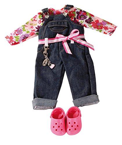 Götz 3402191 Kombination Denim Latzhose Charming - Set Puppenbekleidung Gr. XL - 6-teiliges Bekleidungs- und Zubehörset für Stehpuppen von 45 - 50 cm -