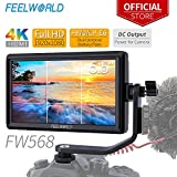 Feelworld FW568 5.5 Pouces sur Caméra Moniteur DSLR Camera Field Monitor Small Full HD 1920x1080 IPS Video Peaking Focus Assist avec 4K HDMI 8.4V DC Input Output Inclure Tilt Arm