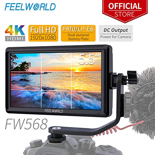 Feelworld FW568 5.5 Zoll DSLR Kamera Field Monitor Small Full HD 1920x1080 IPS Video Peaking Focus Assist mit 4K HDMI 8.4V DC Input Output Gehören Tilt Arm
