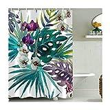 Bishilin Polyester-Stoff 3D Lustiger Duschvorhang 165x180 Blume Blatt Badewannen Duschvorhang